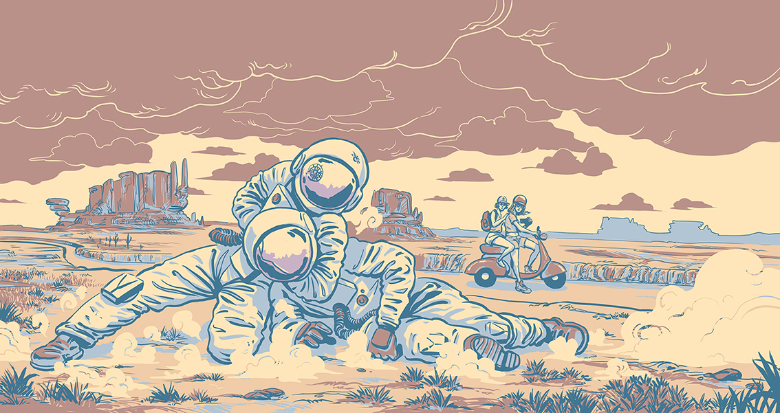 desert canyon astronaut cosmonaut fight combat catch