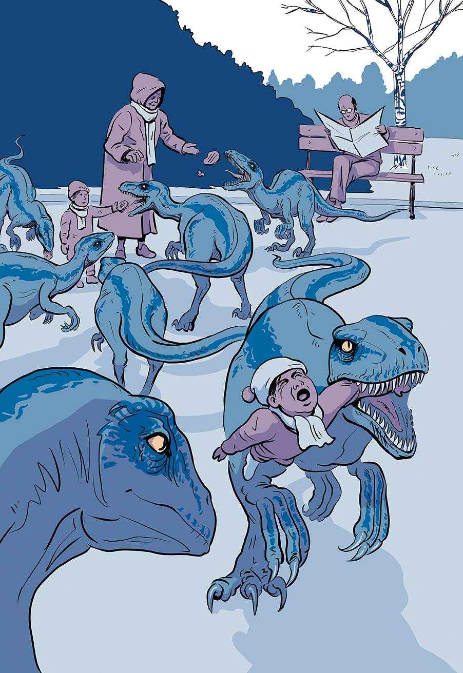 dinosaure parc velociraptor winter hiver