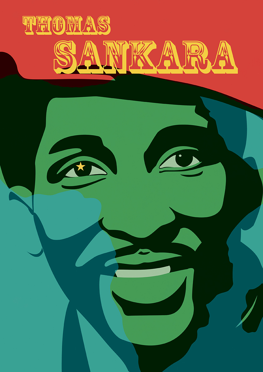 portrait affiche thomas sankara burkina faso haute volta afrique che josselin limon duparcmeur